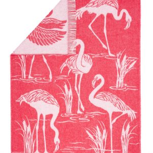 Wool jacquard blanket Flamingo