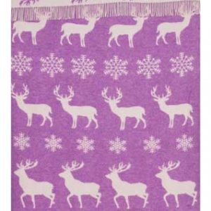 Wool jacquard blanket Snow Deer