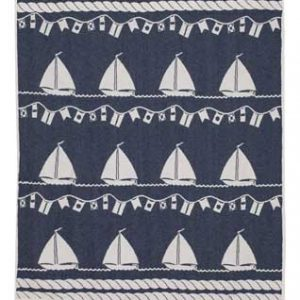 Cotton jacquard blanket Sailing Boat