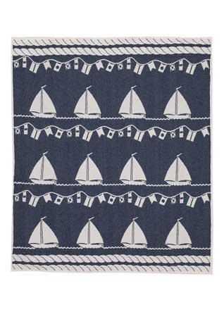Cotton jacquard blanket Sailing Boat