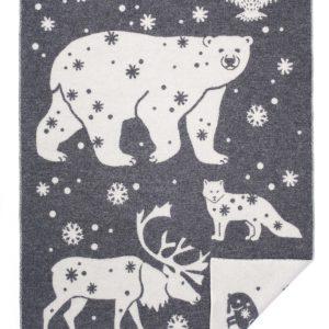 Wool jacquard blanket North Animal