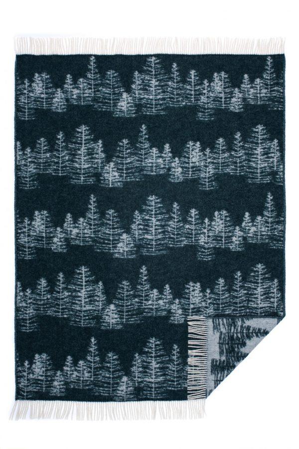 Wool jacquard blanket Winter Tree