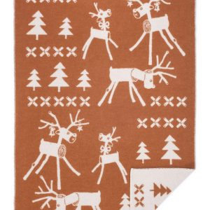 Wool jacquard blanket Wooden Deer